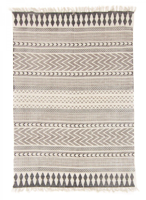 Alfombra de algodón - Marrakech (negro/blanco/gris)